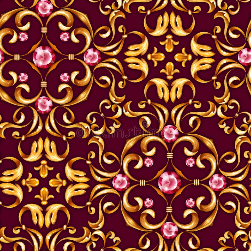Seamless baroque pattern with decorative golden leaves. And gems royalty free illustration