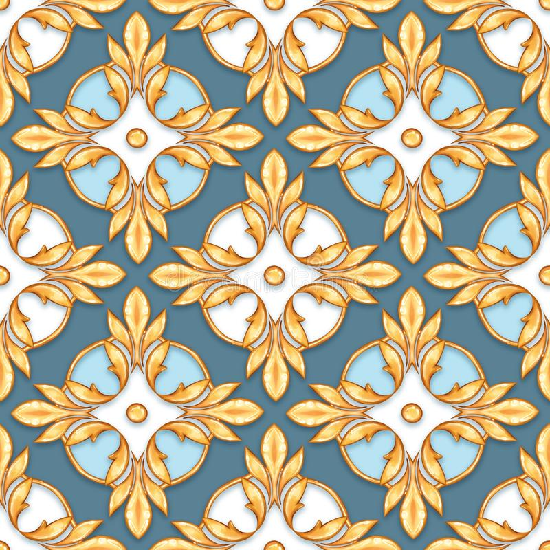 Seamless baroque pattern 30. Seamless baroque pattern with decorative golden leaves stock image