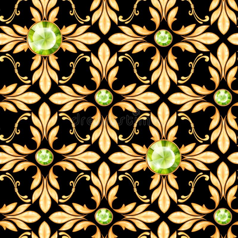 Seamless baroque pattern with gems stock photo