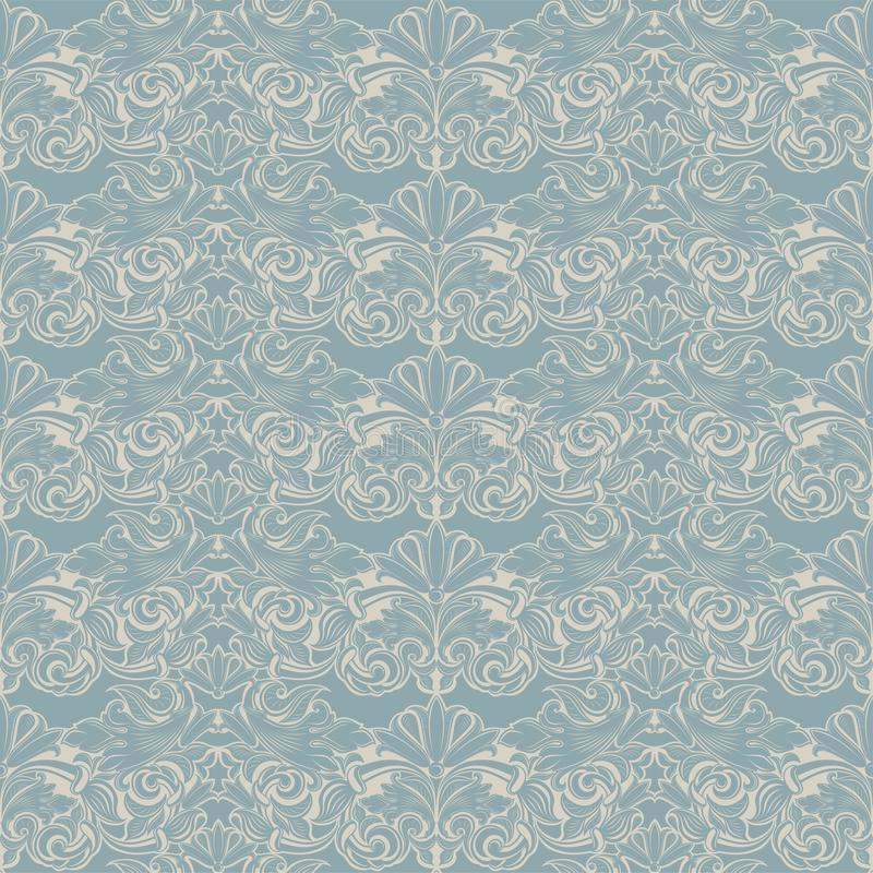 Seamless Baroque pattern in light blue and white. Vintage, Rococo, damask patterns with leaves, floral elements stock illustration