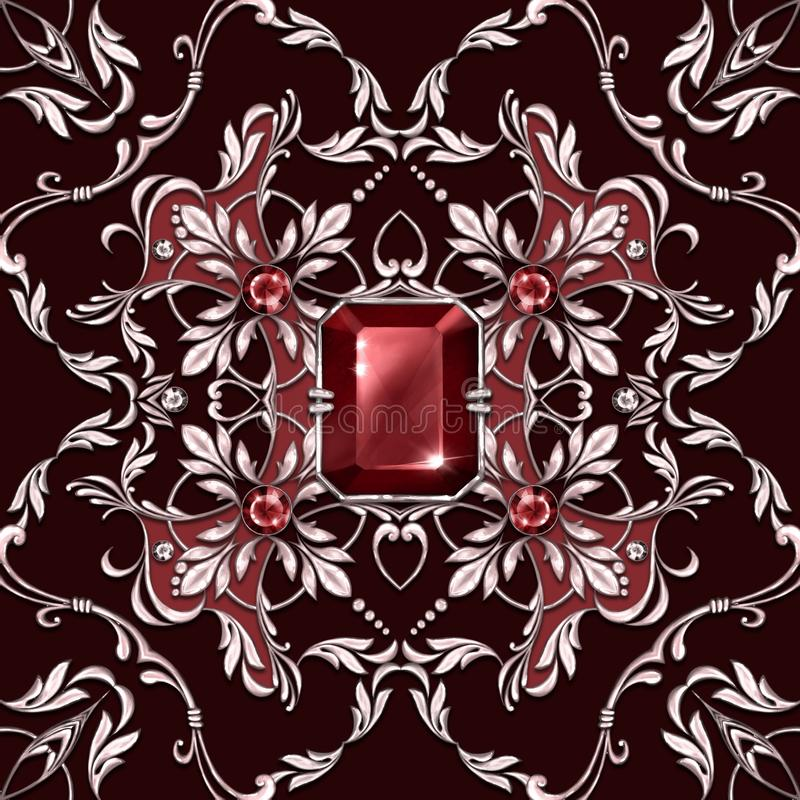 Seamless baroque pattern with ruby gems vector illustration