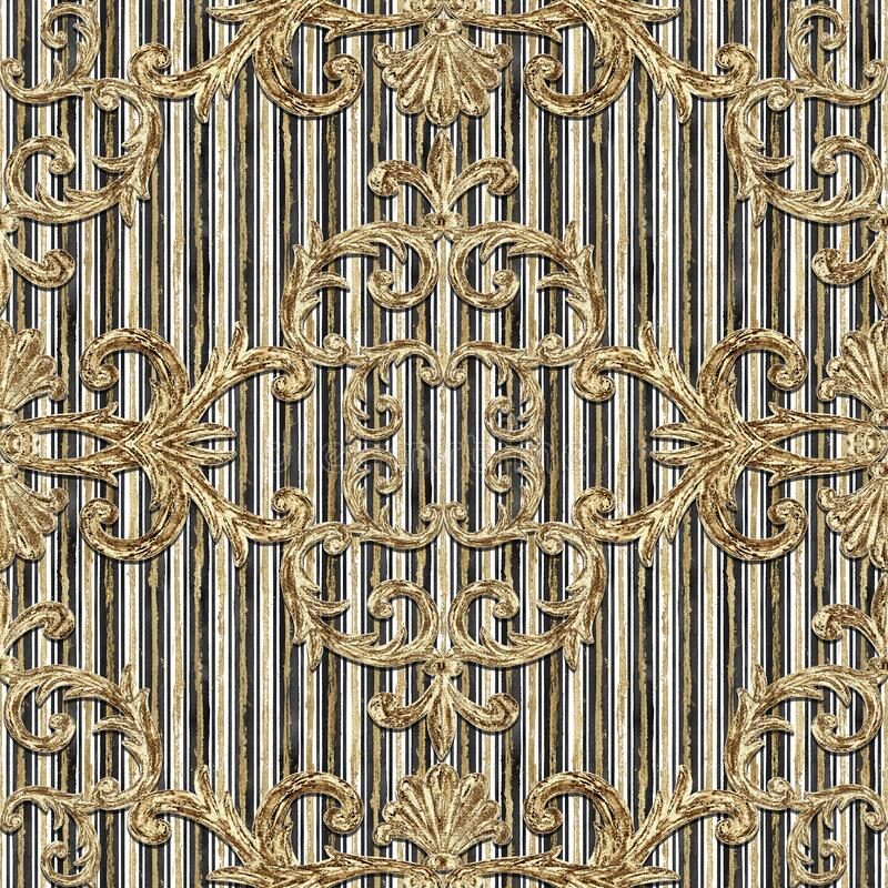 Free Seamless Baroque Style Damask Pattern. Contemporary And Retro Design Print Stock Images - 217200984