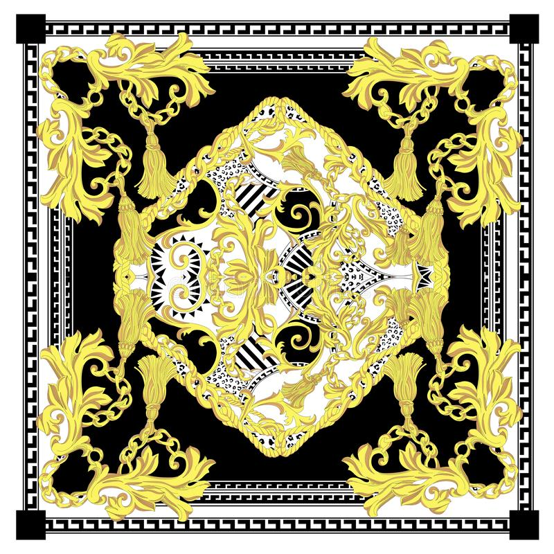 Free Seamless Baroque With White Black Gold Color Scarf Royalty Free Stock Image - 150301566