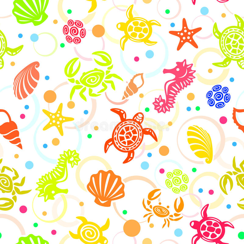 Free Seamless Beach Vector Pattern Stock Photography - 10212002