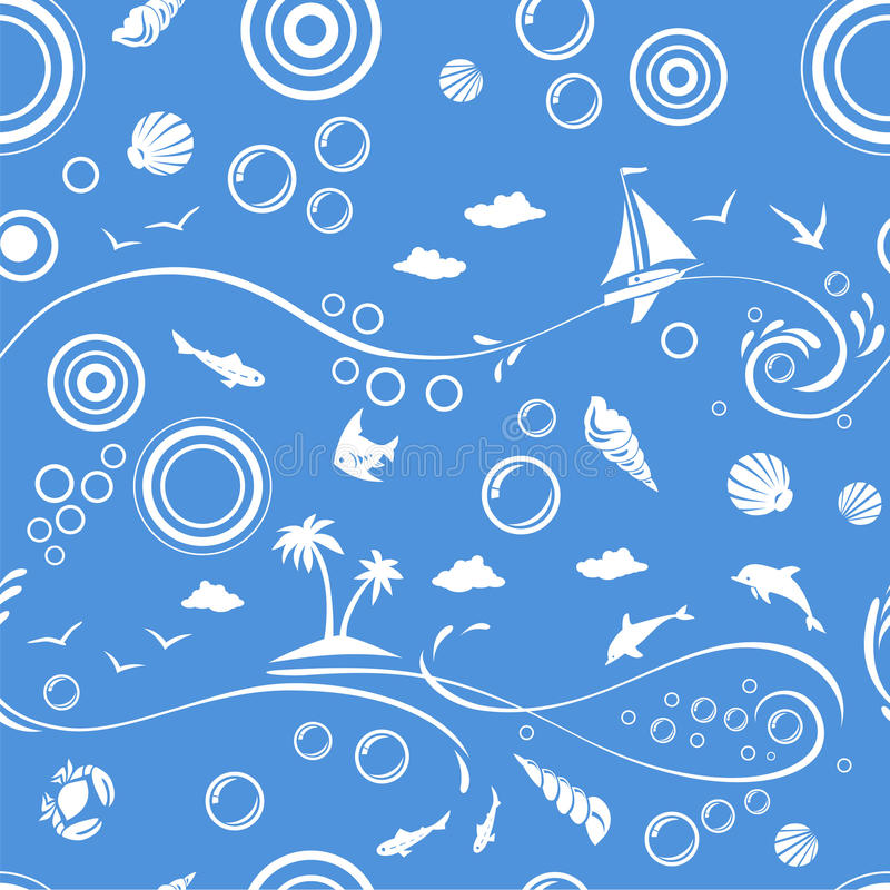 Free Seamless Beach Vector Pattern Stock Image - 14243341