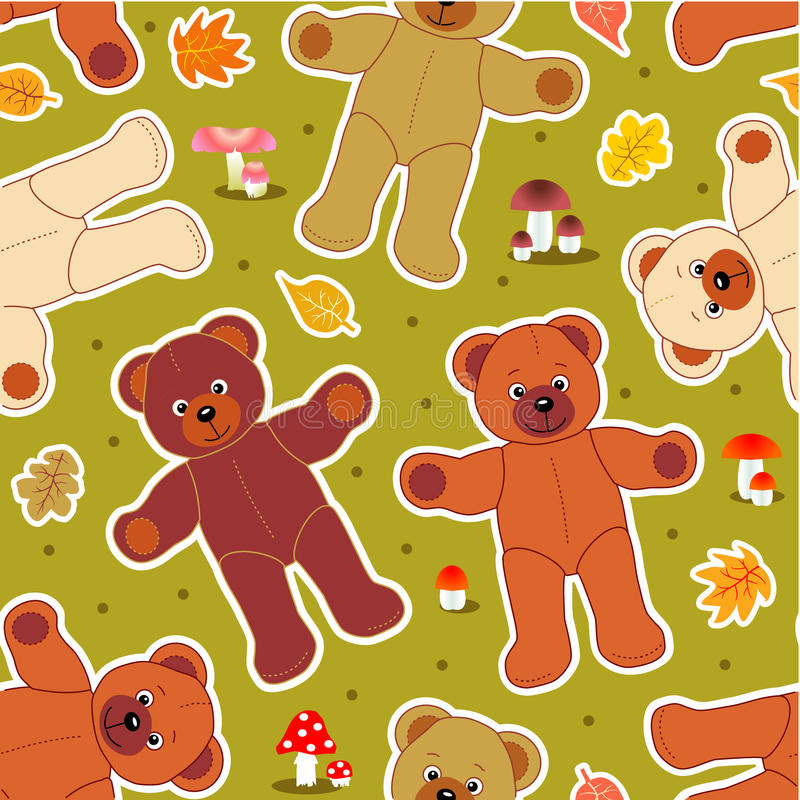 Seamless bears in autumn royalty free illustration