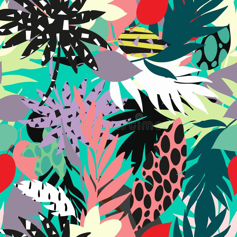 Seamless beautiful artistic bright tropical pattern with banana, Syngonium and Dracaena leaf, summer beach fun. Colorful original stylish floral background royalty free illustration