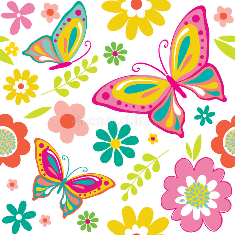 Seamless beautiful butterfly and flowers pattern stock illustration