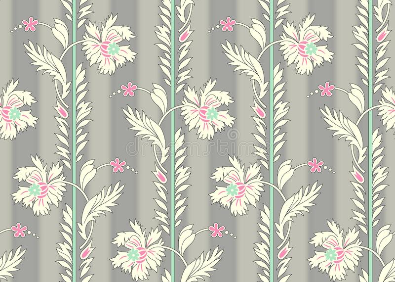 Seamless beautiful flower pattern with grey shades background stock illustration