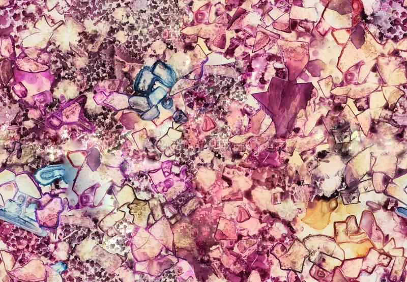 Seamless, hand made art mosaic glass texture. Acrylic, watercolor, ink royalty free stock image