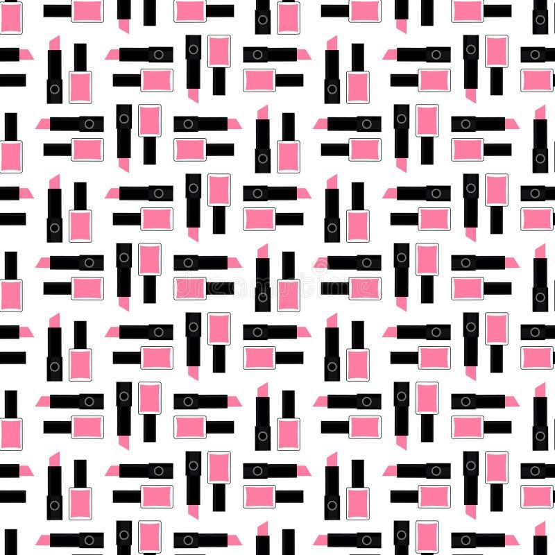 Seamless beauty pattern. Cute fashion illustration with pink lipstick and nail polish. stock illustration