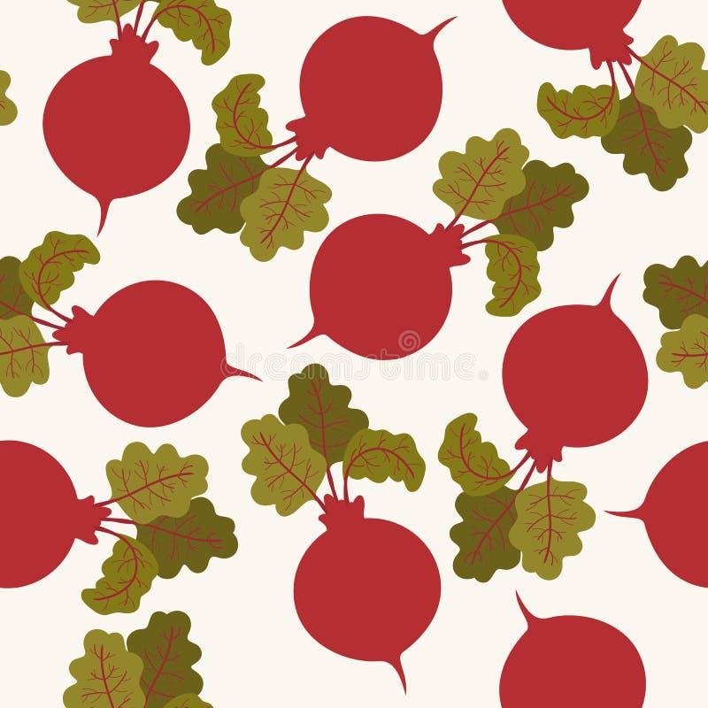 Seamless beetroot pattern. Endless vector garden wallpaper vector illustration