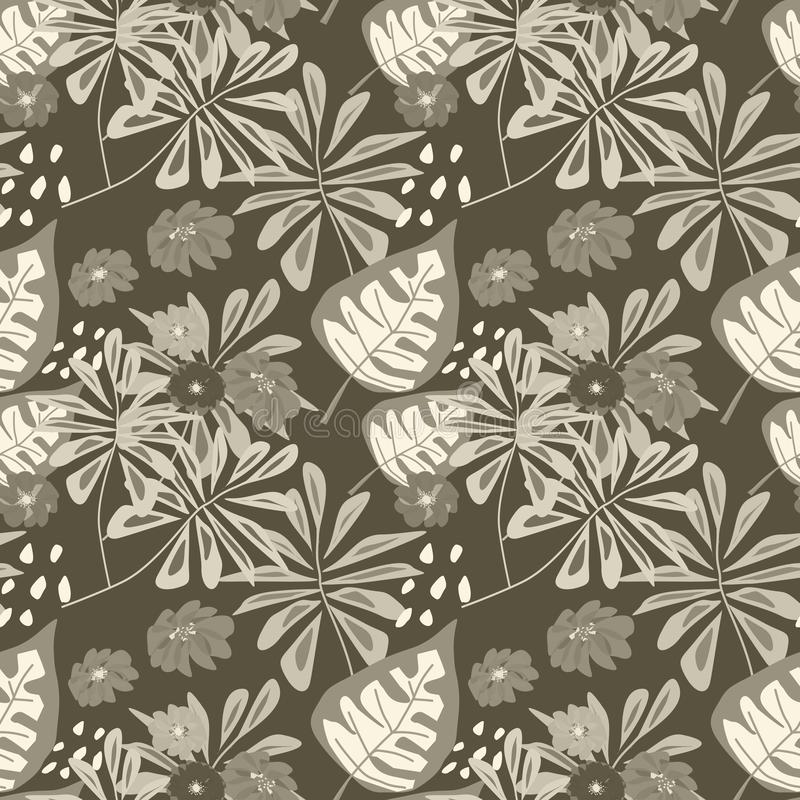 Seamless beige brown floral tropical pattern . vector illustration