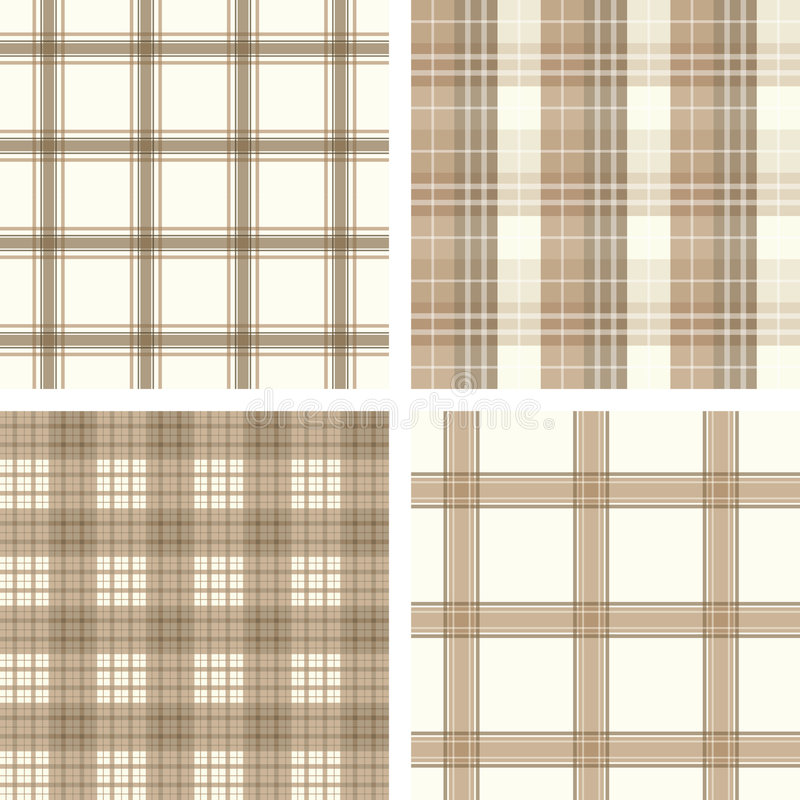 Seamless beige checked pattern set vector illustration