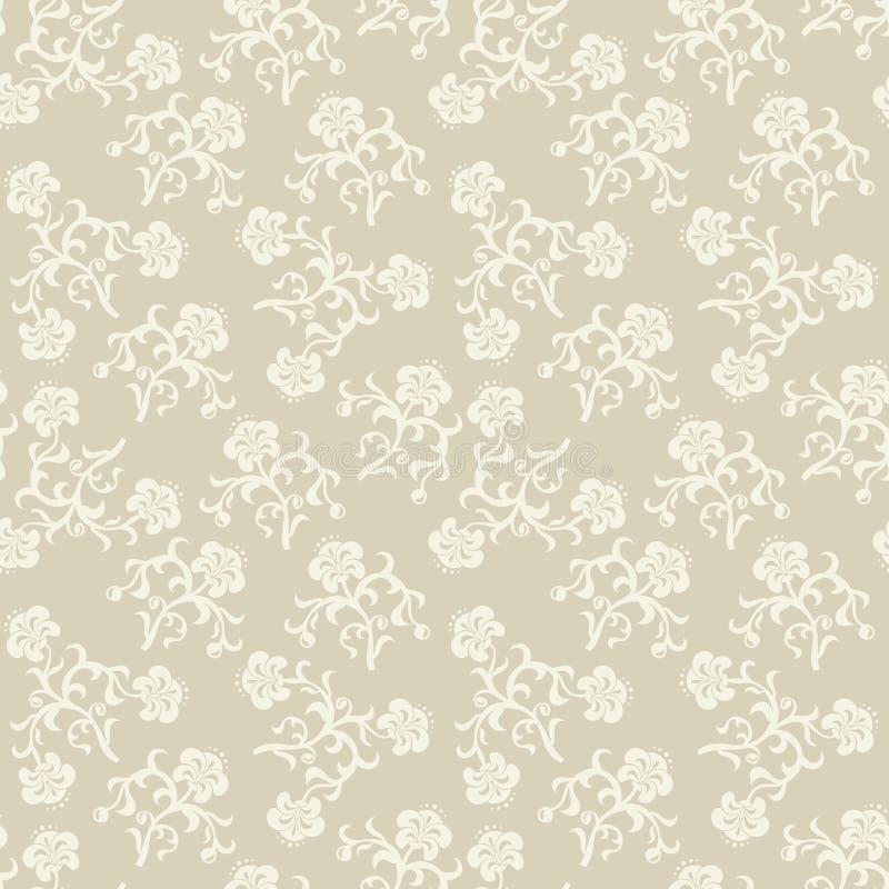 Seamless beige flowers background. stock illustration
