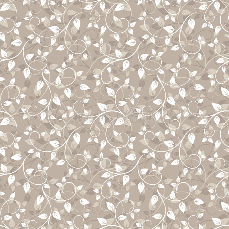 Seamless beige pattern with leaves. stock illustration