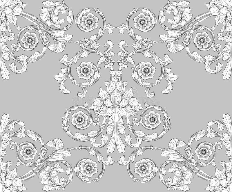 seamless belägga med tegel wallpaper för blom- modell royaltyfri illustrationer