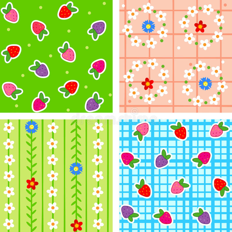 Seamless berries and flowers stock illustration