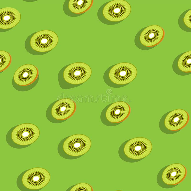 Seamless berry kiwi fruit tropical background on green background. Printing paper cloth banner. Vector image. Eps 10 vector illustration