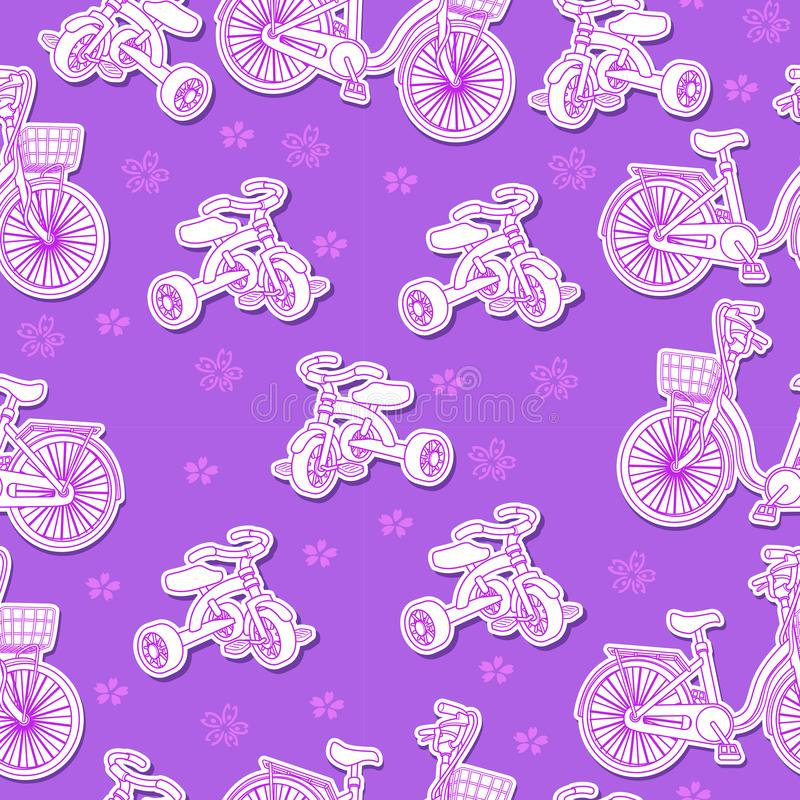 Seamless bicycle and tricycle pattern. royalty free illustration