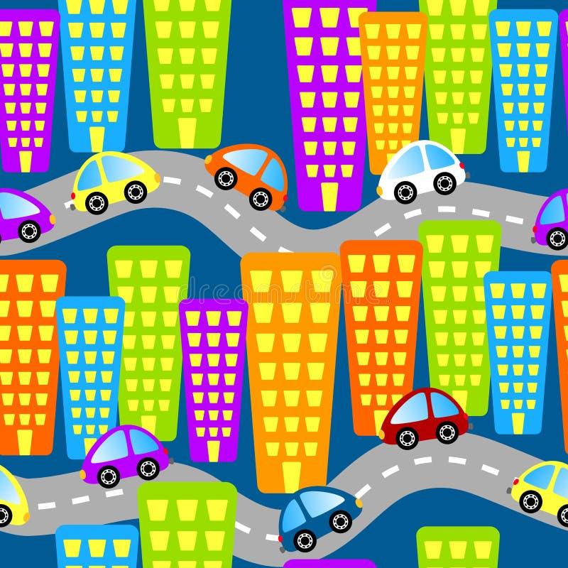 seamless bilstadsvägar royaltyfri illustrationer