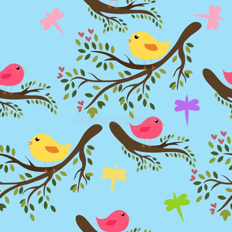 Seamless birds background vector illustration