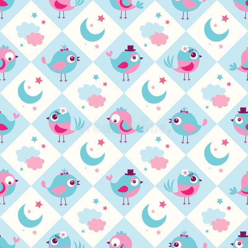 Seamless birds bedroom background stock illustration