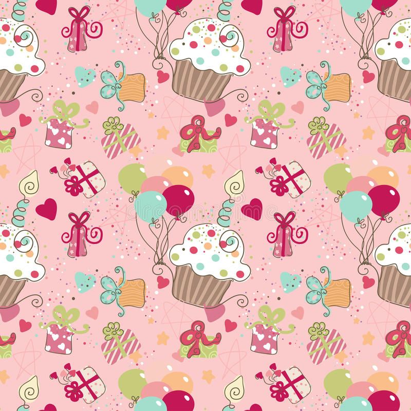 Download Seamless Birthday pattern stock vector. Image of cupcake - 27834450