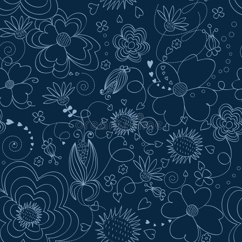 seamless blå blom- modell stock illustrationer