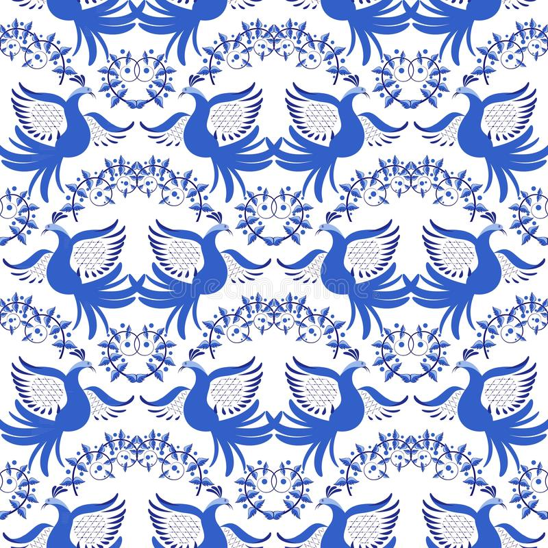 seamless blå modell Bakgrund med blommor och fåglar i stilen av nationell porslinmålning royaltyfri illustrationer