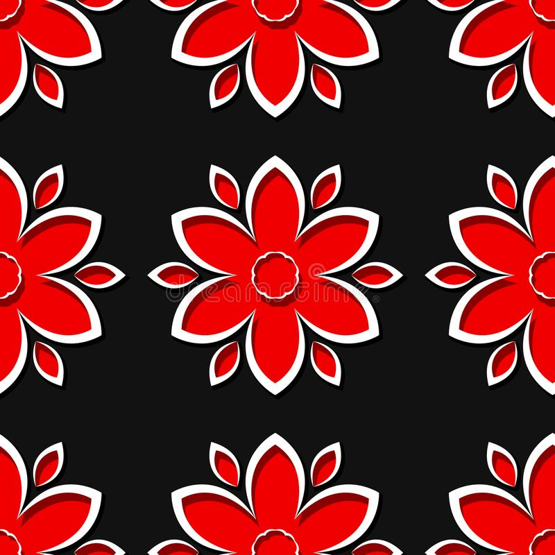 Seamless black background with 3d floral red elements royalty free illustration