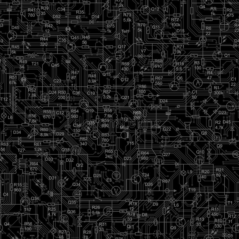 Seamless black background of electrical circuit. vector illustration