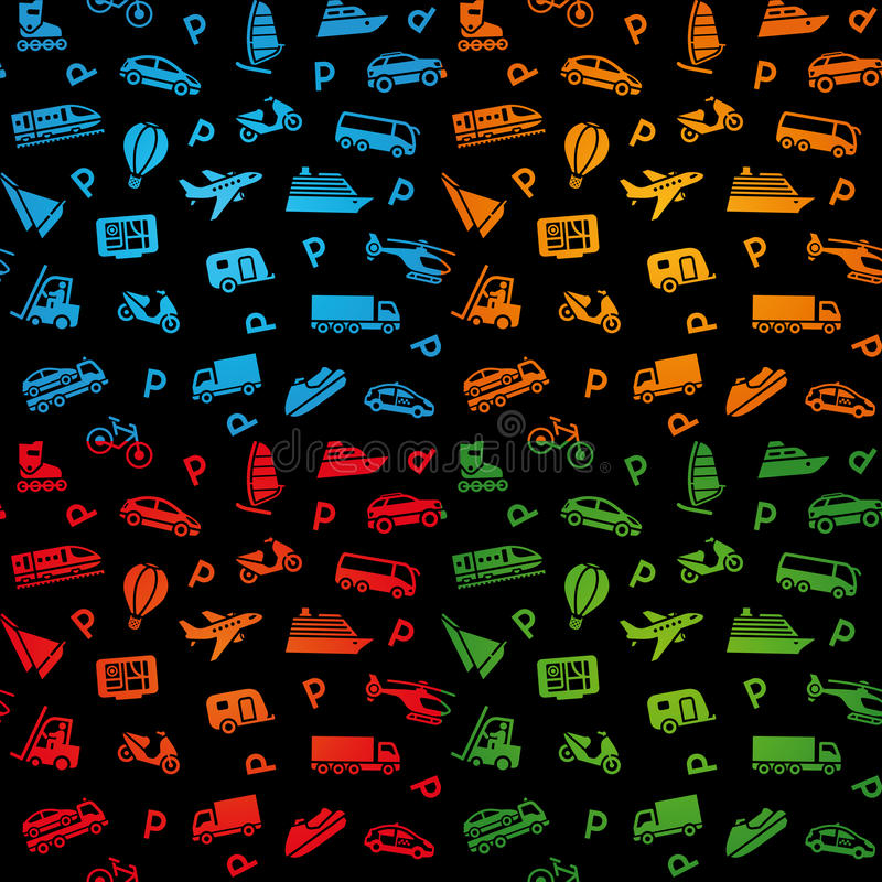 Download Seamless Black Background, Transport Icons Stock Photos - Image: 22568873