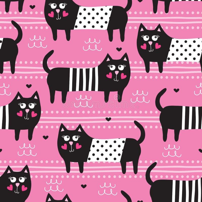 Seamless black cat pattern vector illustration vector illustration
