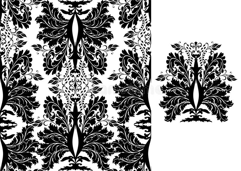 Seamless black damask pattern stock illustration