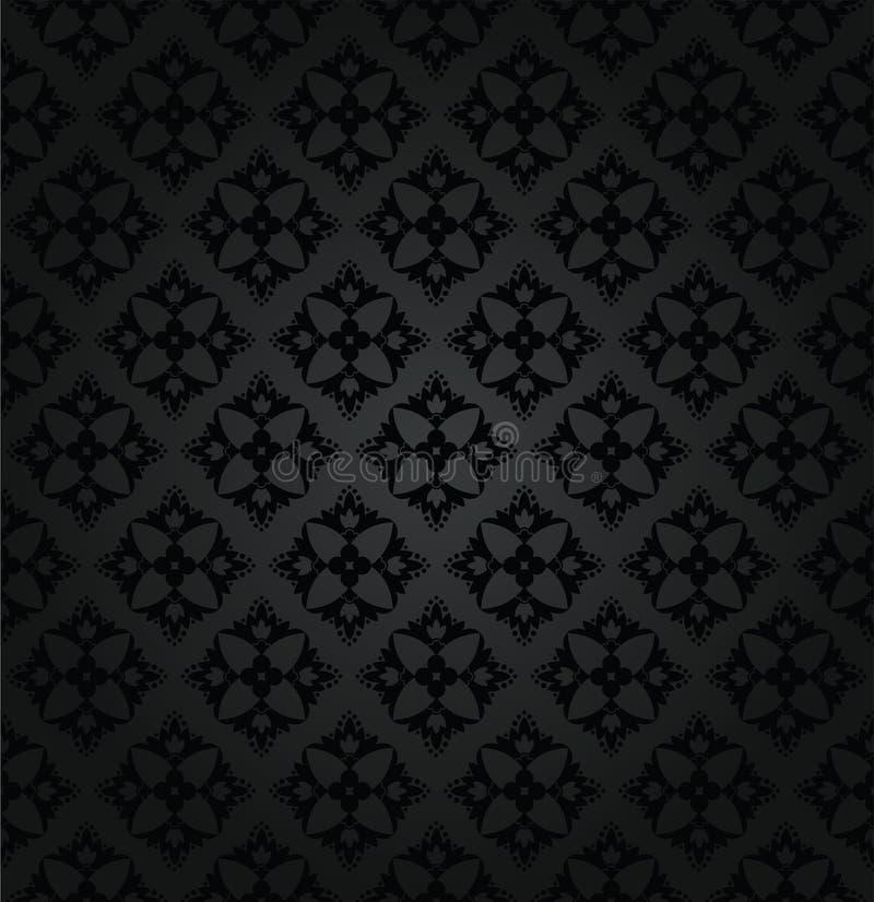 Seamless black floral damask wallpaper pattern stock photography