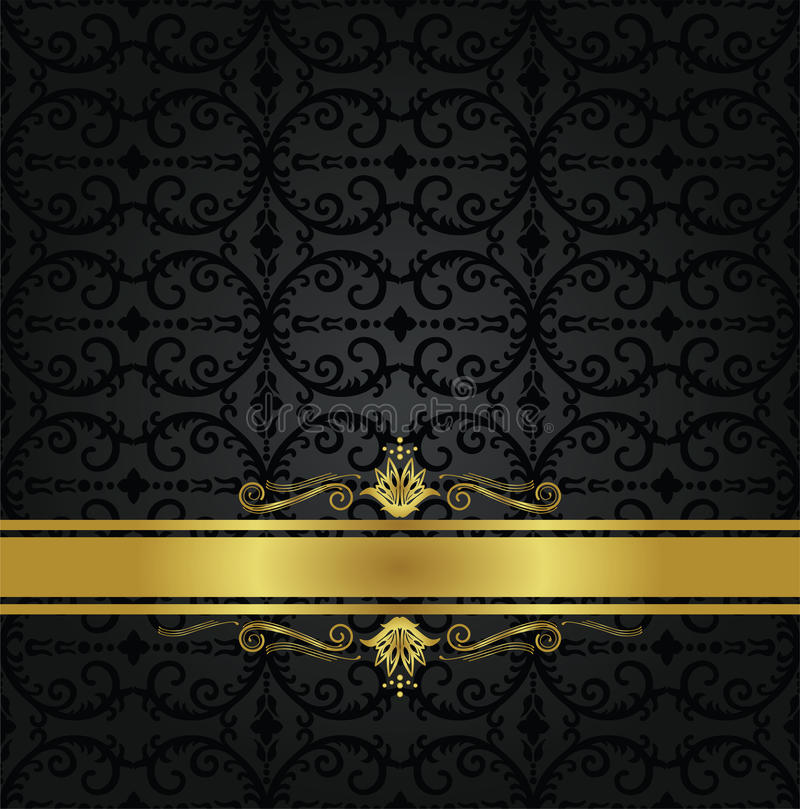 Seamless black floral wallpaper and gold ribbon vector illustration
