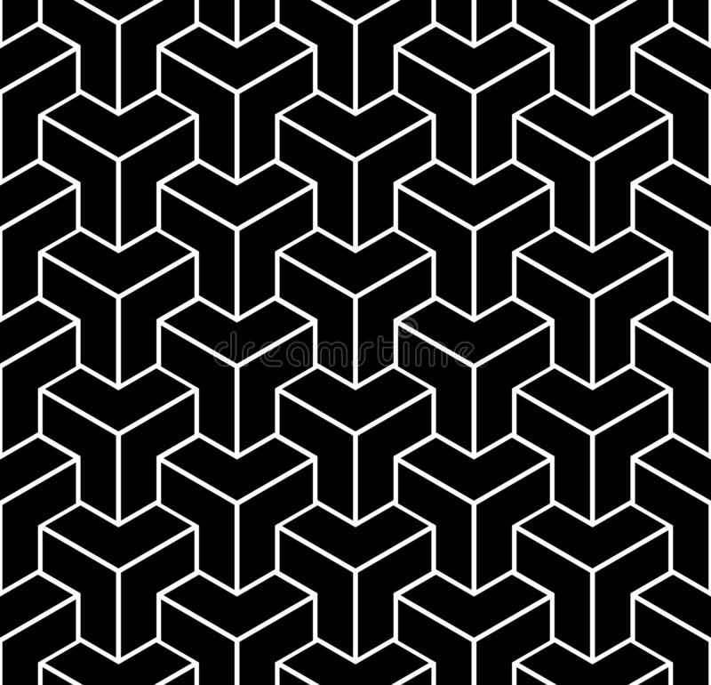 Seamless black geometric pattern. 3D illusion. Seamless black geometric isometric pattern. 3D illusion. Vector art royalty free illustration