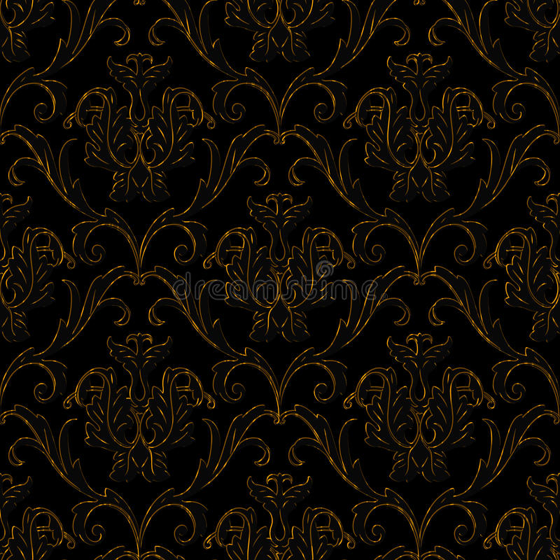 Dark Floral Ii Black Saturated Xl Wallpaper: Seamless Black With Gold Stripe Floral Background Stock