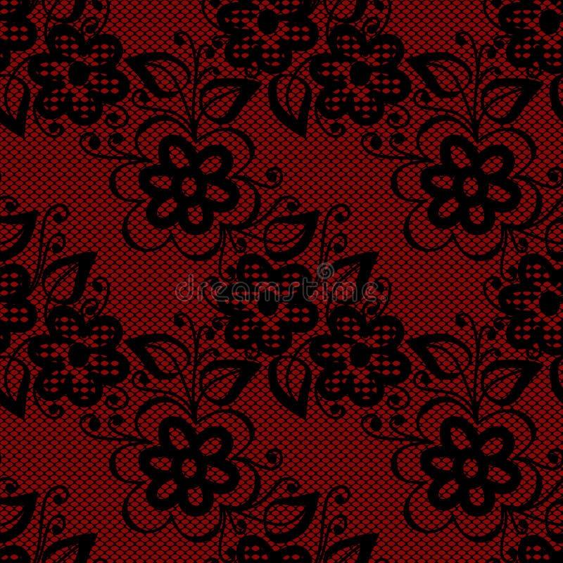 Seamless black lace vector illustration