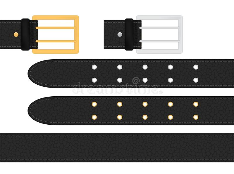 Seamless black leather belt with metallic silver and golden buckle. Isolated vector illustration. Seamless black leather belt with metallic silver and golden stock illustration