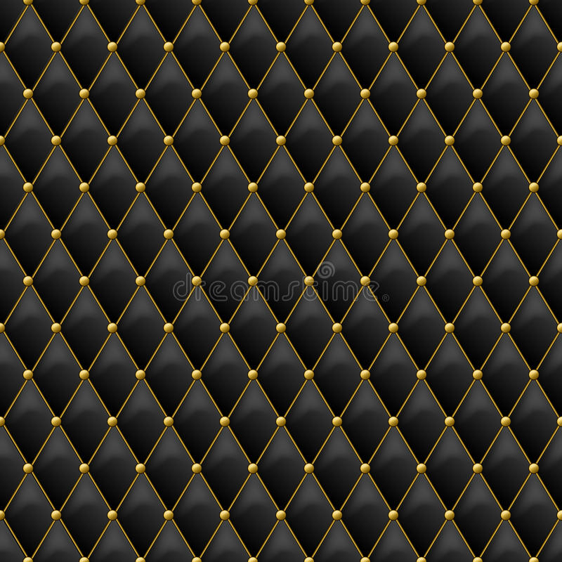 Seamless black leather texture with gold metal details. Vector leather background with golden buttons. Luxury textile design, interior and furniture decoration royalty free illustration