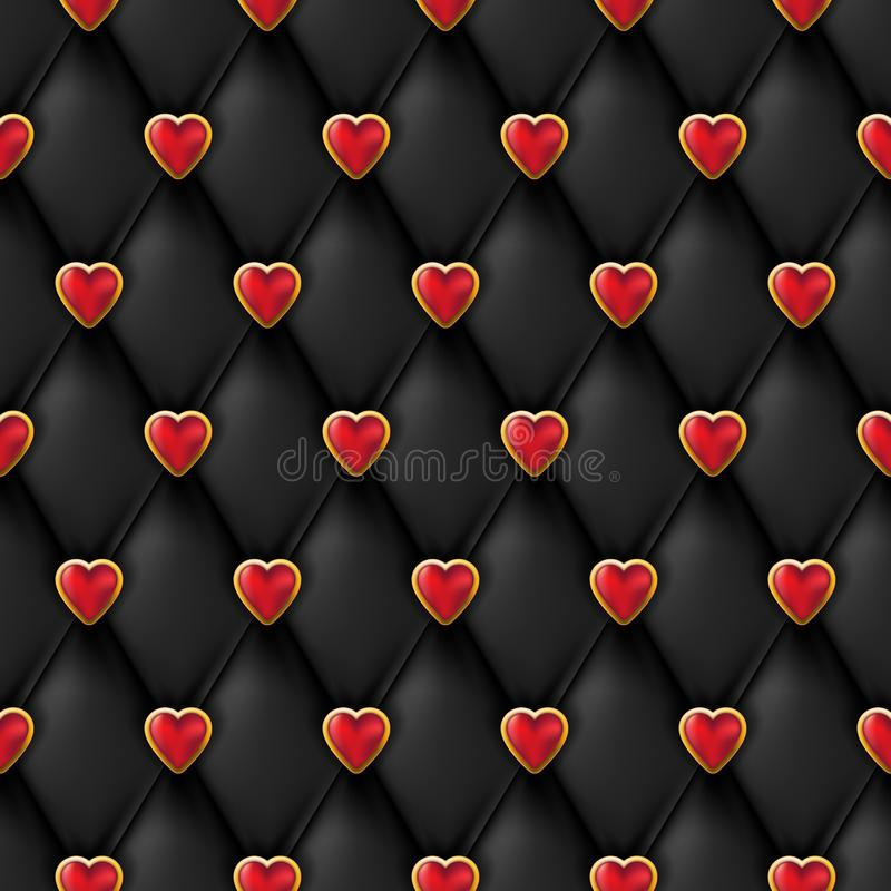 Seamless black leather texture with shiny red golden hearts buttons. Vector silk textile, Valentines day background. vector illustration