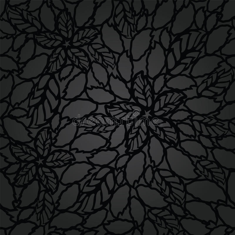 Seamless black leaves and flowers lace wallpaper pattern stock illustration