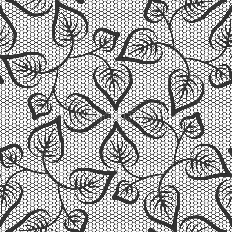 Seamless black leaves lace pattern stock illustration
