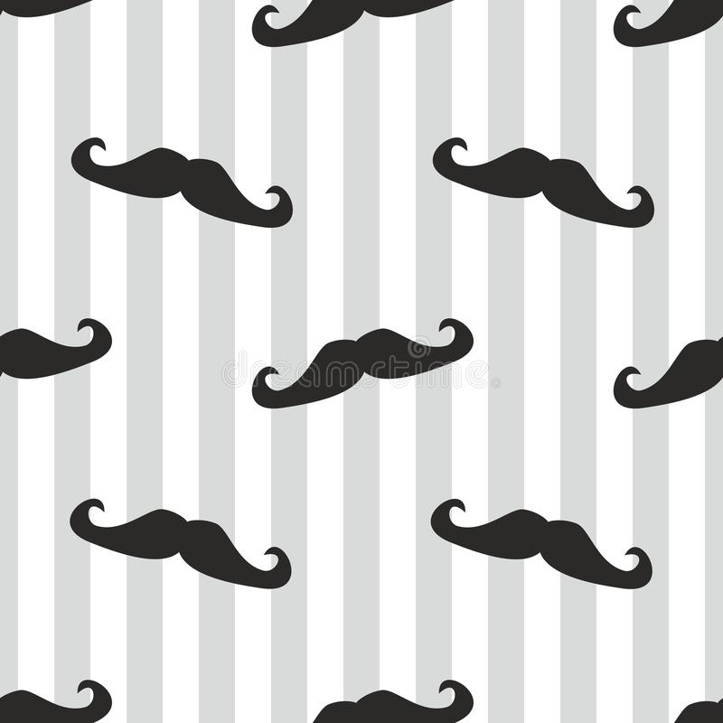 Seamless black vector mustache and blue stripes ba. Seamless vector mustache background. Pattern or texture with black curly retro gentleman mustaches on stripes stock illustration