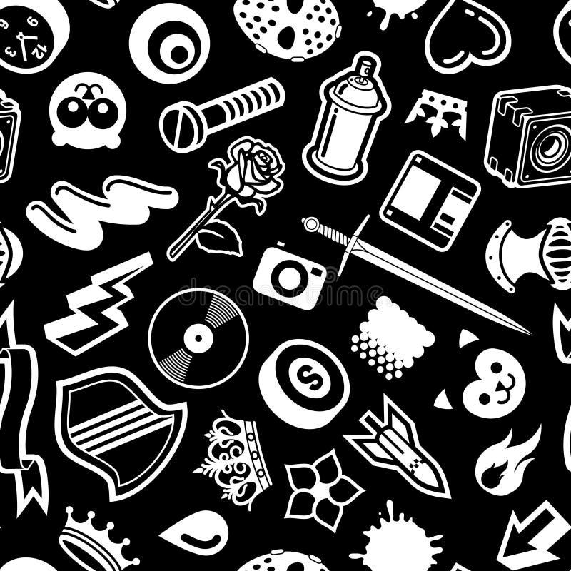 Download Seamless Black Pattern stock vector. Image of design, blot - 3374993