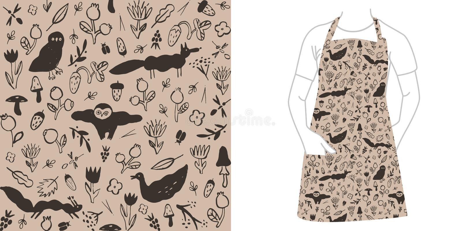 Seamless black pattern with wild animals, flowers, berries, mushrooms and insects. stock illustration