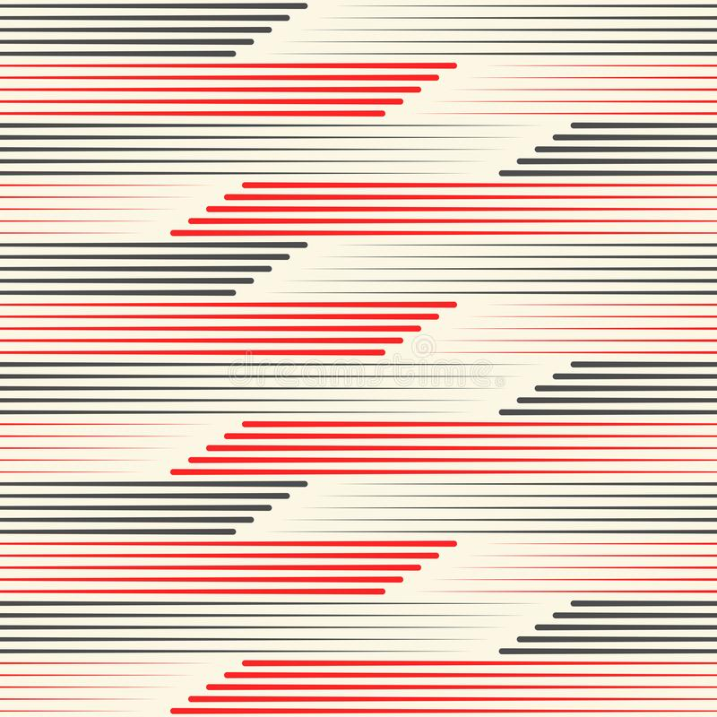 Seamless Black and Red Stripes Wallpaper. Minimal Wrapping Paper vector illustration
