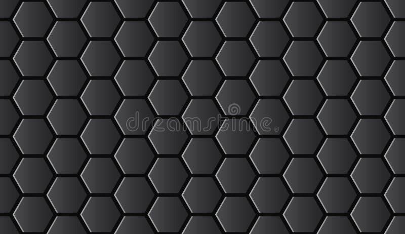 Seamless black shiny hi-tech hexagonal pattern vector royalty free illustration